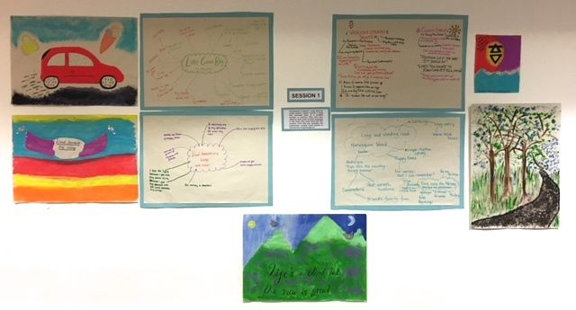 Posters and images, including a green mountain landscape, are displayed on a white wall